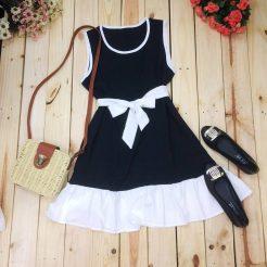 Đầm nơ trắng đen dễ thương (1)