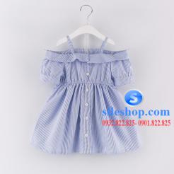 Đầm sọc xanh trắng cho bé gái dễ thương-sileshop (2)