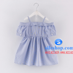Đầm sọc xanh trắng cho bé gái dễ thương-sileshop (3)