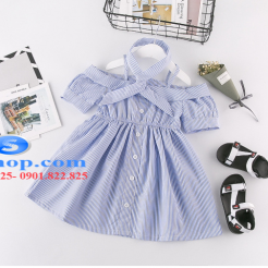Đầm sọc xanh trắng cho bé gái dễ thương-sileshop (5)