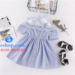 Đầm sọc xanh trắng cho bé gái dễ thương-sileshop (6)