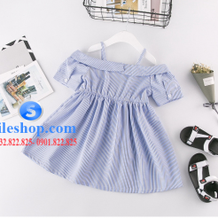 Đầm sọc xanh trắng cho bé gái dễ thương-sileshop (7)