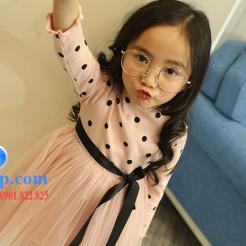 Đầm voan hồng xòe chấm bi cho bé dễ thương-sileshop (3)
