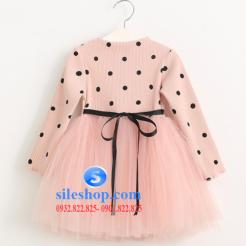 Đầm voan hồng xòe chấm bi cho bé dễ thương-sileshop (4)