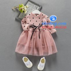 Đầm voan hồng xòe chấm bi cho bé dễ thương-sileshop (41)