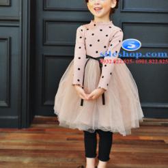 Đầm voan hồng xòe chấm bi cho bé dễ thương-sileshop (54)