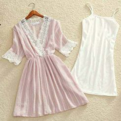 Đầm voan tay ren (1)