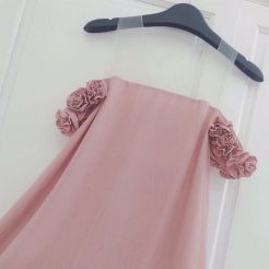 Đầm xòe lưới rớt vai hoa hồng (1)