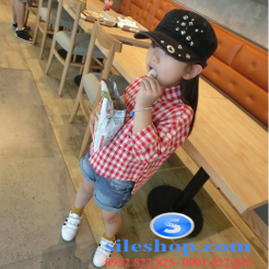 Sơ mi ca rô đỏ trắng cho bé gái dễ thương-sileshop (10)