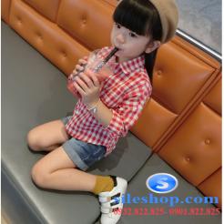 Sơ mi ca rô đỏ trắng cho bé gái dễ thương-sileshop (6)