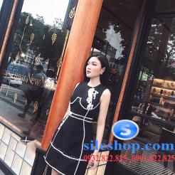 Sỉ Đầm đen body thêu hoa vải bố tại sileshop (6)
