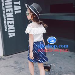 Set bộ chân váy chấm bi áo thun đắp ren cho bé gái đáng yêu-sileshop (1)
