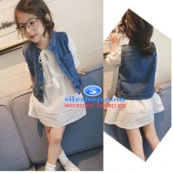 Set jean đầm trắng cho bé gái cực ngầu-sileshop (2)